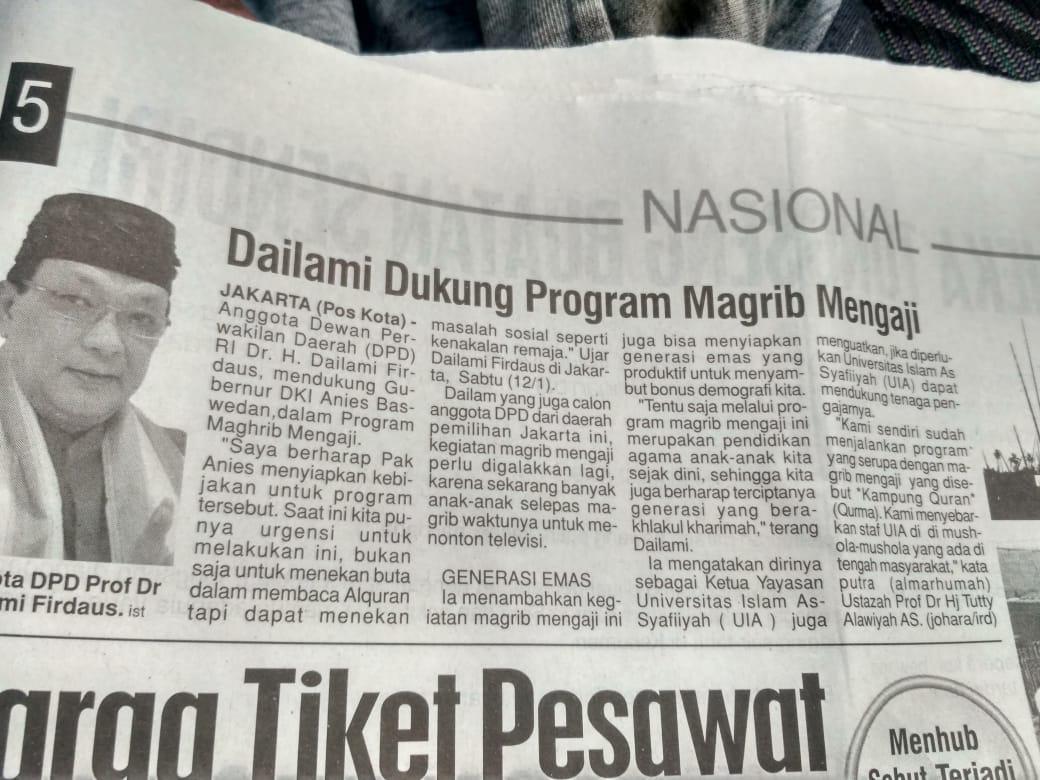 Prof DR H Dailami Firdaus : APRESIASI DAN MENDUKUNG PROGRAM MAGHRIB MENGAJI